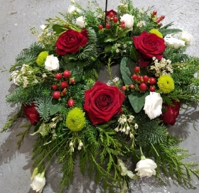 Roses & Berries Christmas Grave Wreath